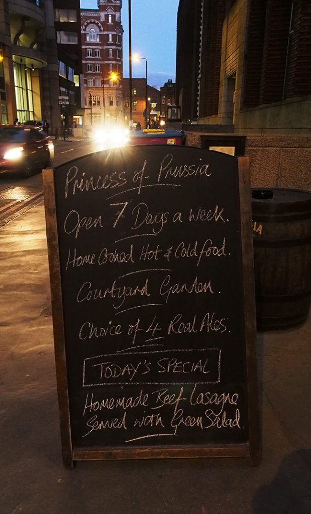 Princess of Prussia - sandwich board